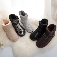Зимние ботильоны из натуральной кожи; водонепроницаемые кнопки для меха; г.; плюшевые женские зимние теплые ботинки; зимние ботинки на плоской подошве; большие размеры 48; Лидер продаж