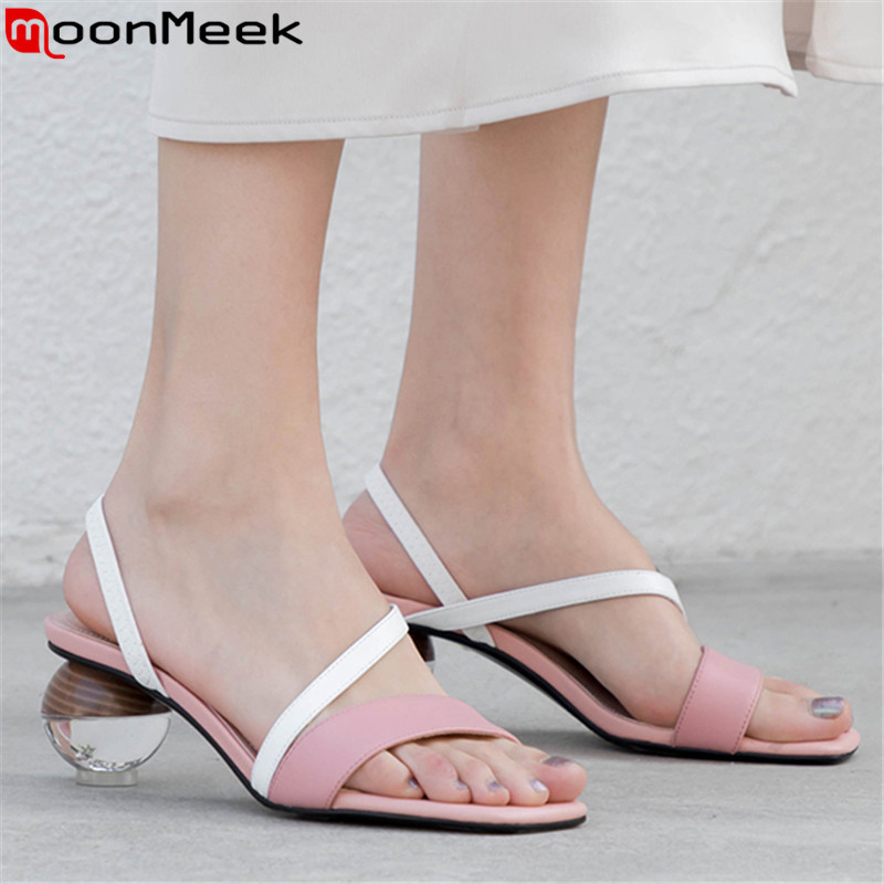 0578d1843cbe MoonMeek 2019 hot sale new summer shoes woman elegant ladies shoes mixed  colors genuine leather shoes ...
