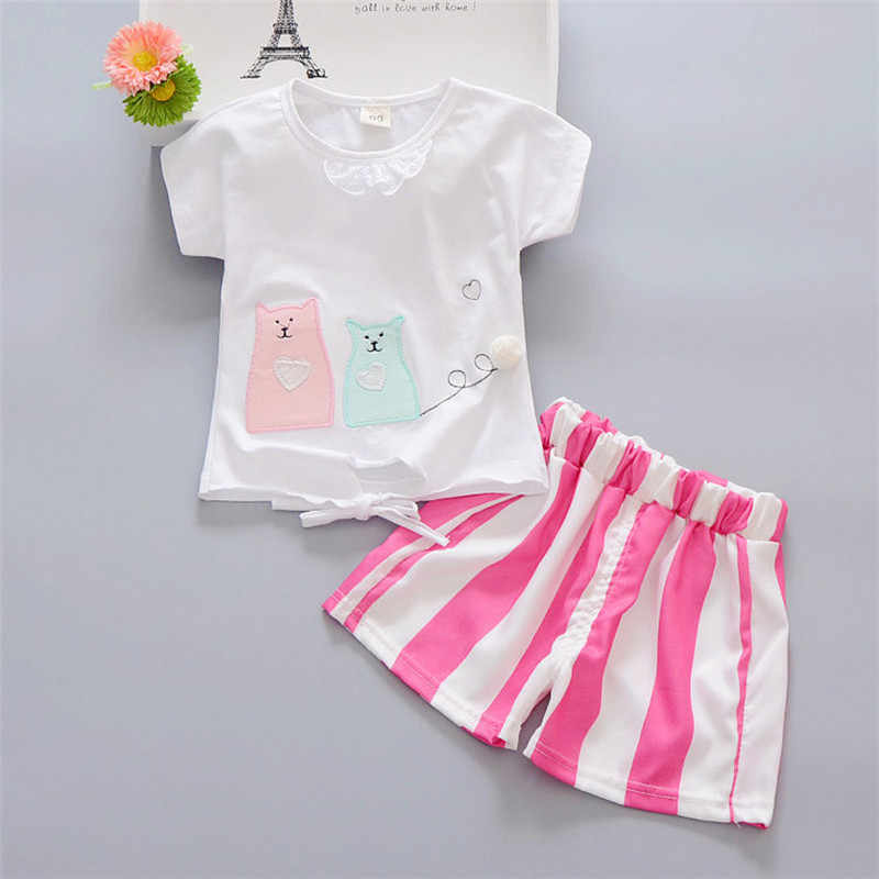 Retail Children's Clothing T-shirt & Striped Shorts Girl's Set Summer Baby Girl 2 Pieces Sets X049