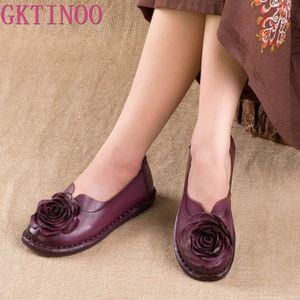 Image 1 - GKTINOO Casual Genuine Leather Flat Shoe Women Shoe Flower Slip On Driving Shoe Female Moccasins Women Flats Lady Shoes