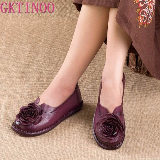 GKTINOO Casual Genuine Leather Flat Shoe Women Shoe Flower Slip On Driving Shoe Female Moccasins Women Flats Lady Shoes