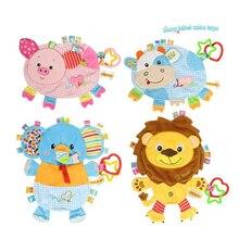 Детская плюшевая кукла, Полотенца мягкая крупного рогатого скота свинья лев слона игрушки младенческой кукольный успокаивающие салфетки с резиновой RingToy дети подарок для мальчика девочки