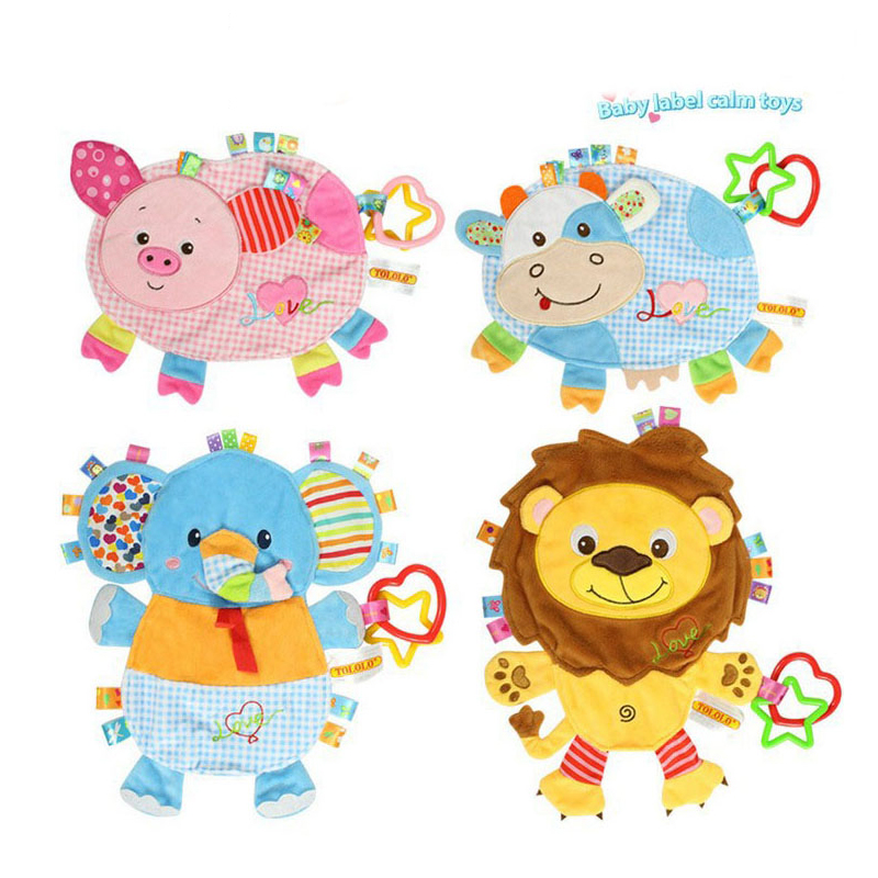 Newborns Baby Toys 0-12 Months Appease Towel Soft Animals Pig Lion Elephant Plush Toy Infant Calm Grasp Ring Sound Boy Girl Gift