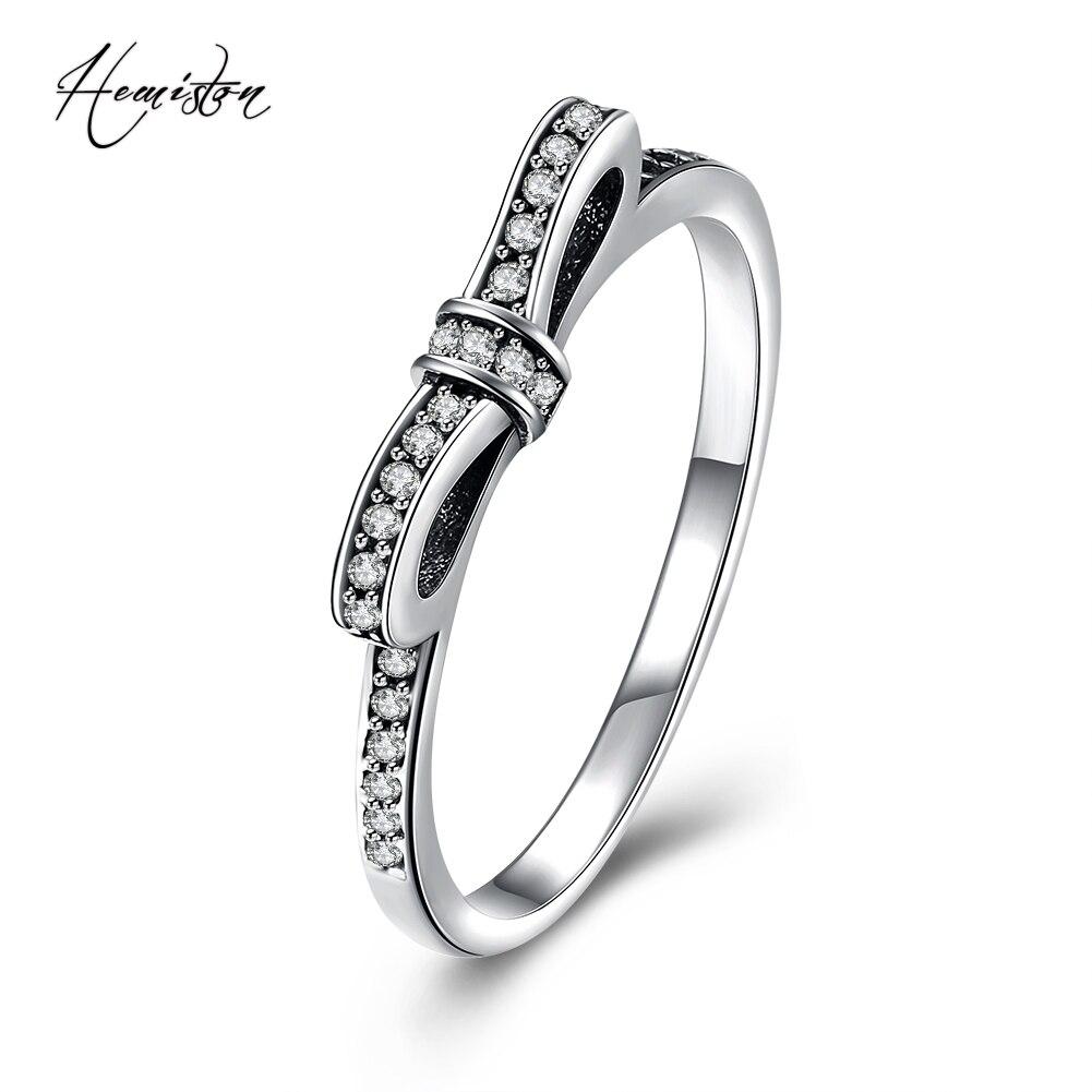 Hemiston Luxury Antique 100% 925 Sterling Silver Bowknot Rings Micro CZ Brand Rings for Women Wedding Jewelry PAR155