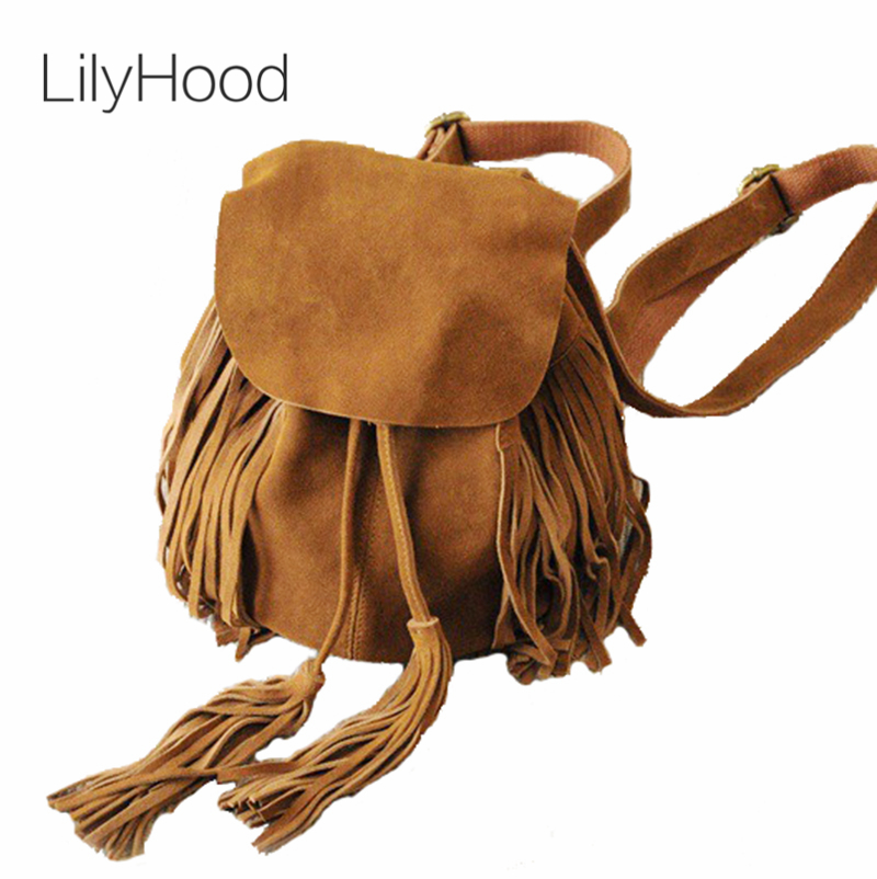 LilyHood Women Small Genuine Leather Suede Feminine Backpack Bohemian Boho Chic Ibiza Mini Bucket Fringe Brown