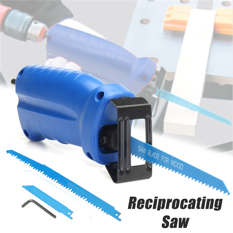 Reciprocating Saw Attachment  Convert Adapter For Cordless Electric Power Drill Cutting Trimming Tool+3 Reciprocating Saw Blades right angle drill attachment three jaw chuck key adapter handle accessory tool