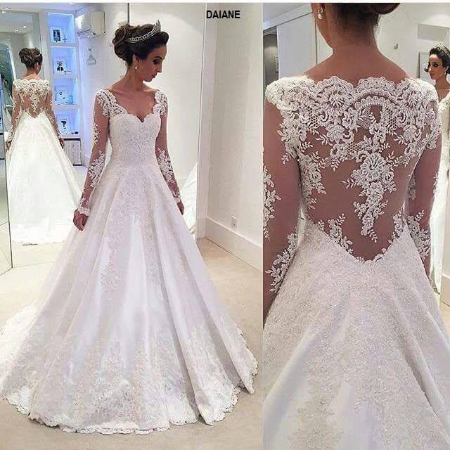 New 2017 Floor Length Lace sweetheart Neck Wedding Gown Long Sexy Long Sleeves A-line Wedding Dresses100% High Quality