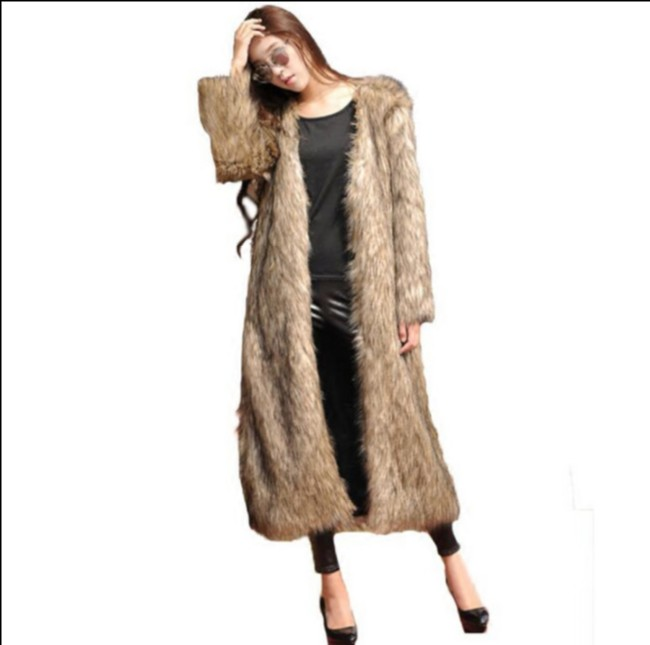 Moelleux Argent Outwear La Renard Plus Fox De Faux 2018 Aw300 Pardessus Femmes Fourrure Vetement Hiver Longue Manteau Taille Furry Bq8n1T