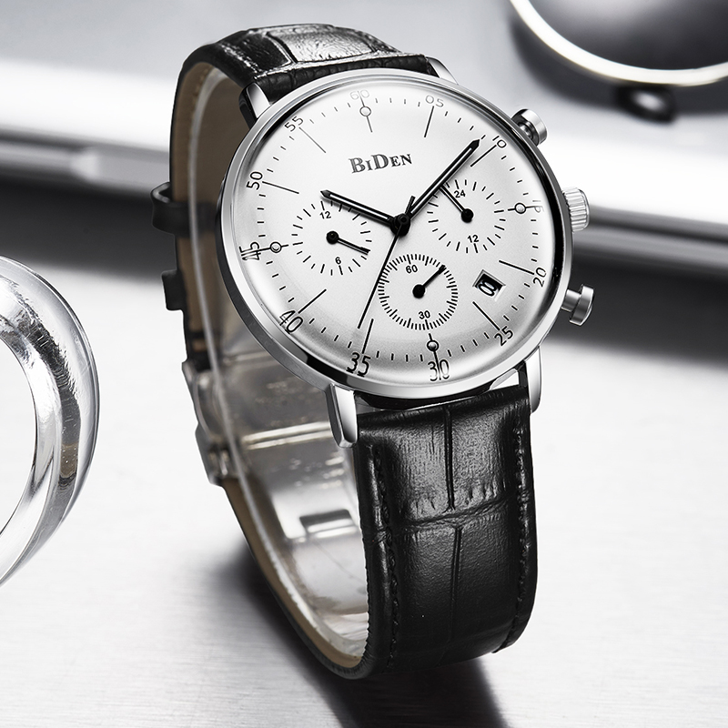 BIDEN Brand Multi Time Zone Fashion Casual Quartz Business Men Leather Strap Wrist Watch relogio masculino bayan kol saati