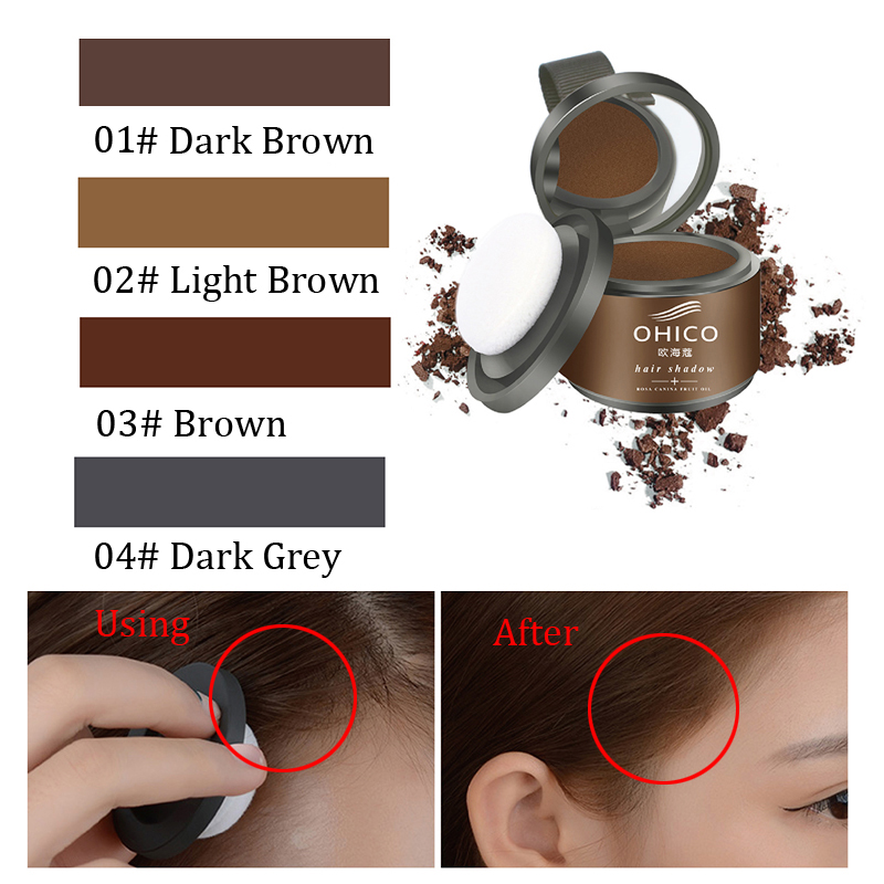 6027 Hair Shadow Trimming Eyebrow Powder Cover White Color Brown Grey Black Hair Line Shadow Powder with Puff ...