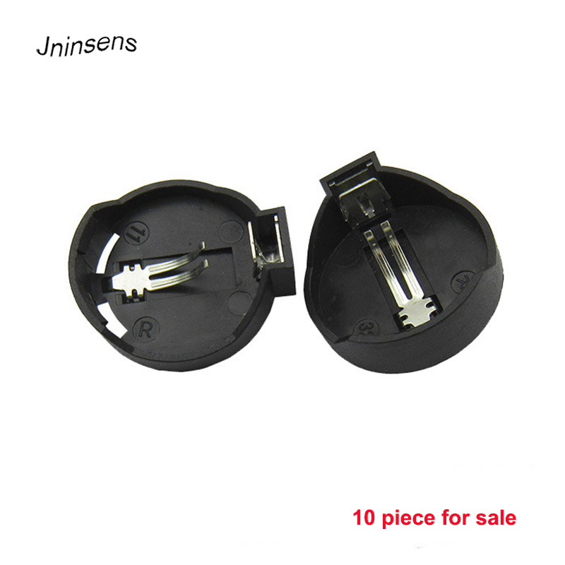 10pcs/lot Black Round 3V CR2025 CR2032 Button Coin Cell Battery Socket Holder Case Wholesale 5pcs smd tab 20mm cr2032 2032 battery button cell holder coin cell retainer battery holder surface mount pcb