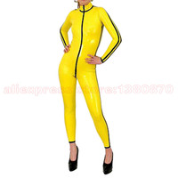 Yellow and Black Strips Sexy Latex Women Tight Catsuit with Front Zipper Rubber Bodysuit S LC227
