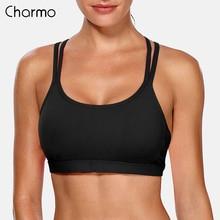 Charmo Women Light Impact Sports Bra Backcross Yoga Push Up Running Workout Underwear Fitness Anti-friction Bras