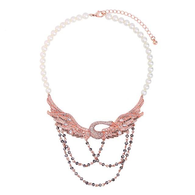 b6862e023b9d Precio a granel simulado perla gargantilla collar oro rosa oro cristal  Cisne colgante collar joyería India