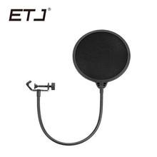 ETJ marka rüzgar ekran Pop filtre çift katmanlı stüdyo mikrofonu aksesuarları döner montaj maskesi kalkan için konuşma kayıt