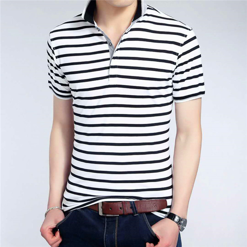 Men   Polo   Shirt 2019 Summer Men Business Casual Breathable White Striped Short Sleeve   Polo   Shirt Cotton Work Clothes   Polos   SA-8