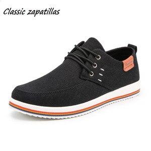 Image 1 - Классические Zapatillas; Новое поступление; сезон весна лето; удобная повседневная обувь; Мужская парусиновая обувь для мужчин; дышащая обувь на плоской подошве со шнуровкой