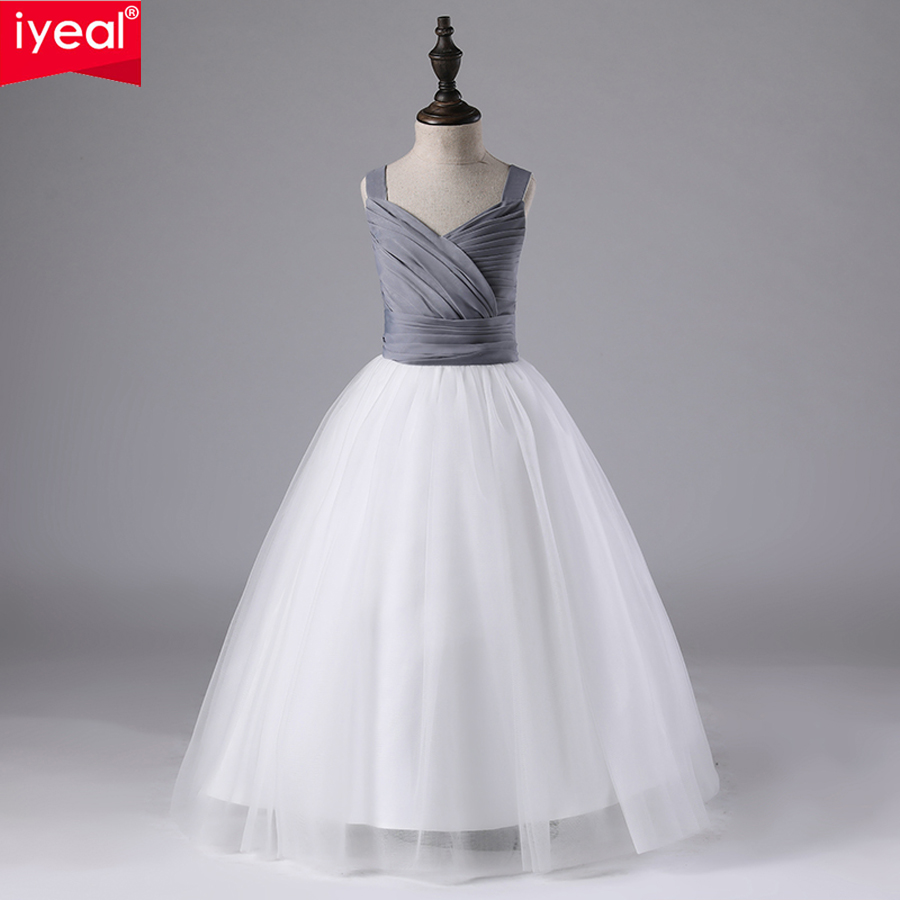 IYEAL Kids Girls Dress Elegant Quality Ball Gown Wedding Birthday Party Dresses 2018 Patchwork Sleeveless Children Gowns Clothes sleeveless summer women dress 2016 elegant casual dresses patchwork 65