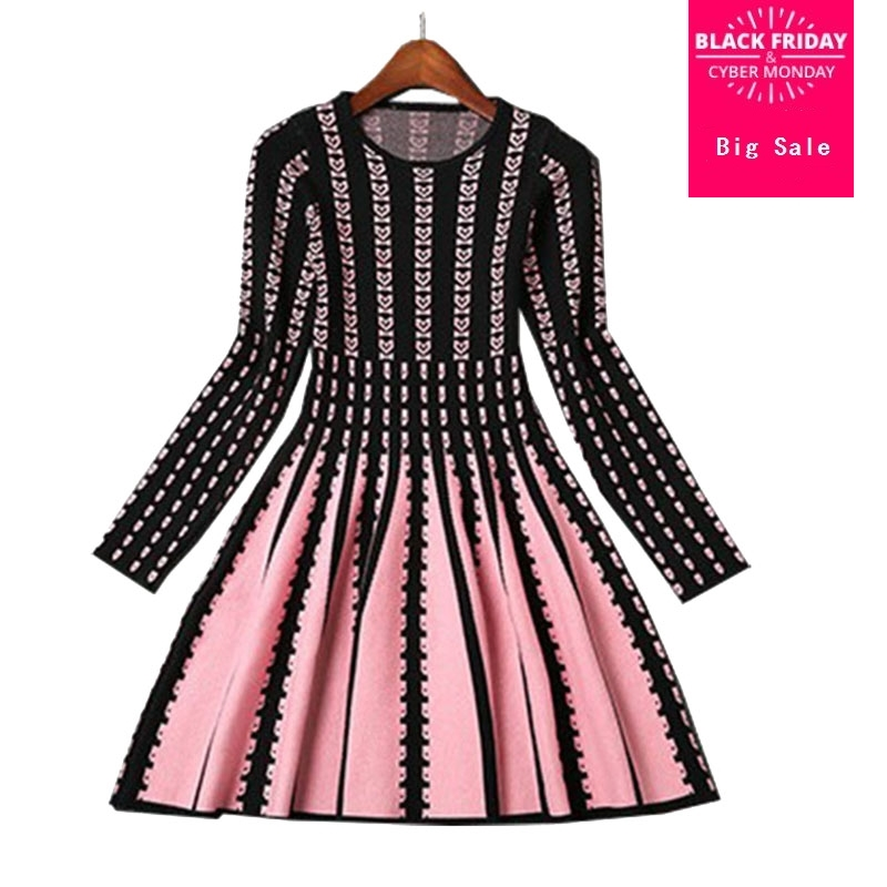 7f187835 European Station Women 's cotton knit stripe Dress new fall and winter  fashionable stretch knit