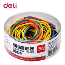 Deli 1 pakage color rubber band office circle type elastic belt financial strapping supplies 3219 ring