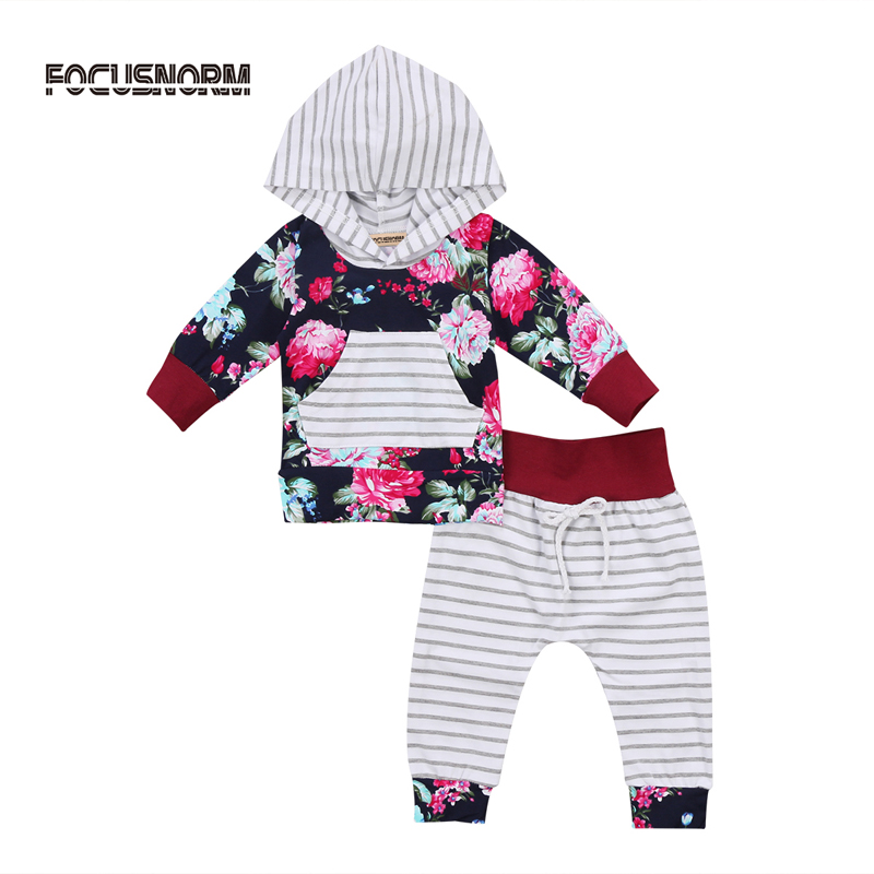 2017 New Casual Newborn Toddler Baby Girl Clothes Floral Hooded Tops Striped Pants Leggings Clothes Outfit Set
