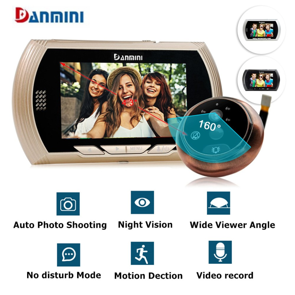 Danmini 4.3HD Color Screen Smart Doorbell Viewer Digital Door Peephole Viewer Camera Door Eye Video record IR Night vision цена