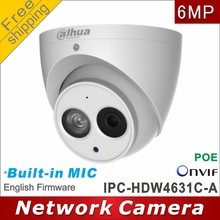 Free shipping Dahua IPC HDW4631C A replace IPC HDW1531S Built in MIC HD 6MP Dome Camera Support POE network IP Camera cctv P2P