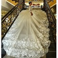 Magnífico Tren de La Catedral Vestidos de Boda Musulmán de La Manga Larga de Encaje de La Vendimia Vestido De Noiva 2016 vestido de Bola Vestido de Novia