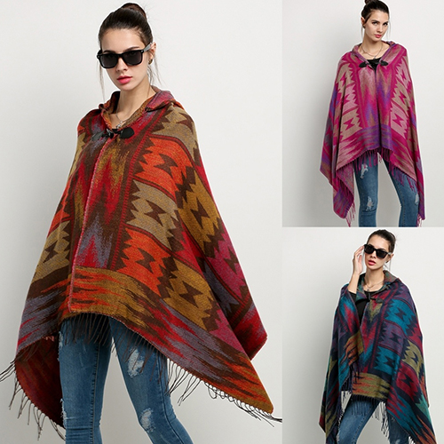 Women's Bohemian Wool Blend Hooded Blanket Cloak Poncho Cape Outwear Coat Shawl