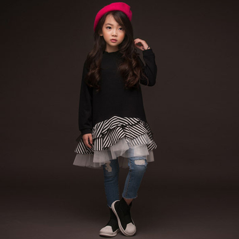 все цены на cotton ruffles kids dresses for girls 10 12 years sweatshirts long sleeve little teenage girls princess dress party clothes fall