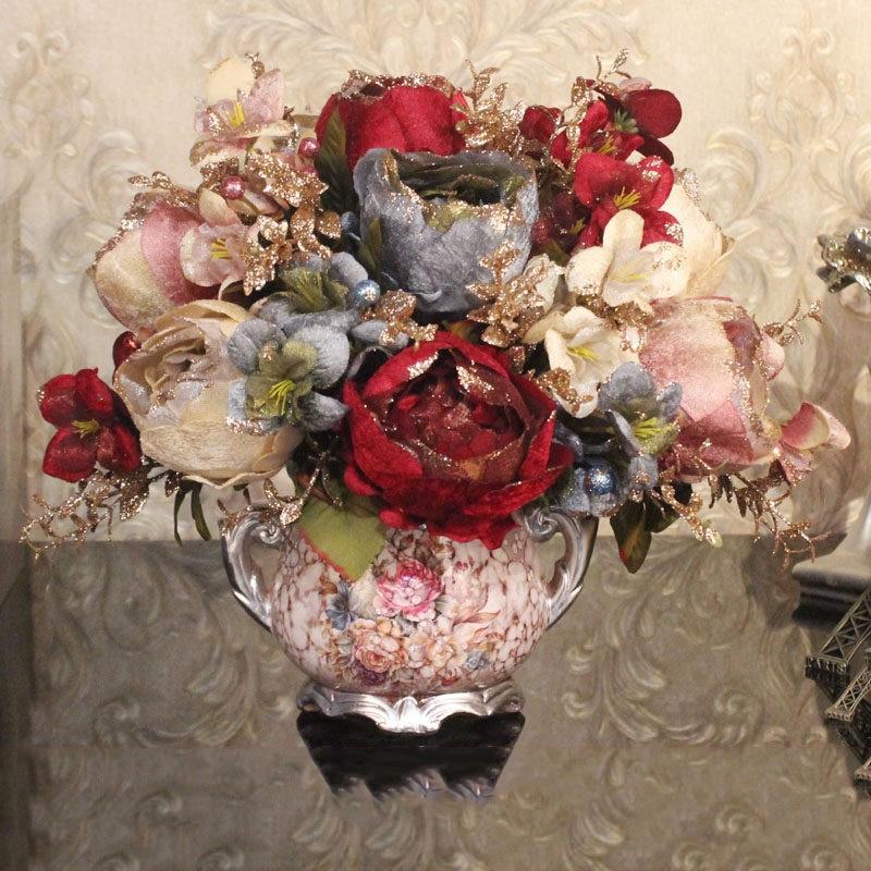 European Resin Vase Artificial Flower Set Plant Ornament Crafts Decoration Home Desktop Luxury Peony Fake Flower Pot Figurines