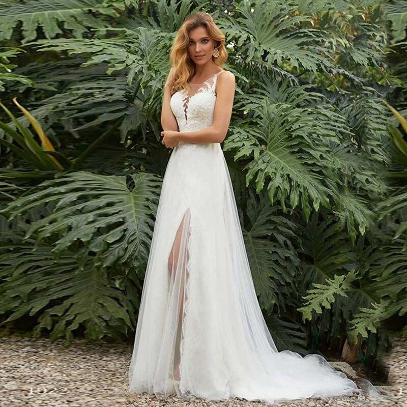 Offre spéciale robe de mariée Vintage Boho o-cou Appliques dentelle robes de mariée côté Split Train robe de mariée vestido de noivas 2019