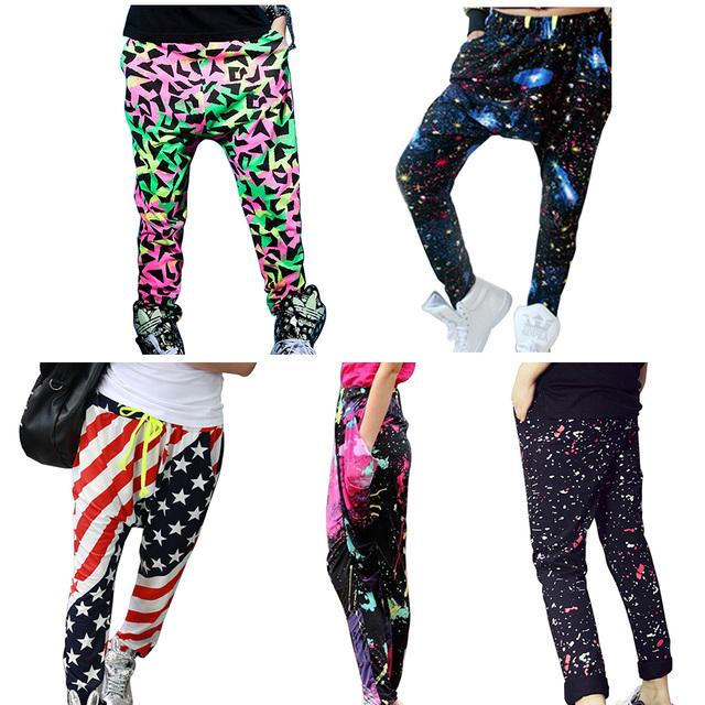 Novo jazz mulheres do hip hop calças harem pants inferior sance soodle primavera e verão solto neon cores doces moletom