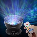 Remote Control Ocean Wave Projector 12 LED 7 Colors Night Light with Built-in Mini Music Player for Living Room and Bedroom