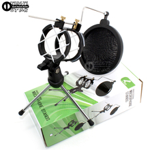Desktop Adjustable Pop Filter Clip Tripod Folding Karaoke Microphone Stand Windscreen Mask Shield PC Recording Mic Holder Clamp