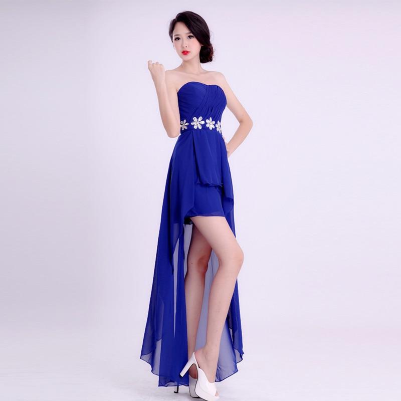 Black Friday Strapless Rhinestones Royal Blue High Low Bridesmaid Dresses Wedding Party Dress Cheap Under 50
