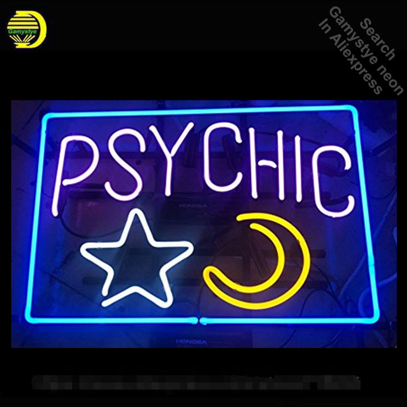 все цены на Psychic Neon Sign Star and moon Handmade Real Glass Tube neon lights vintage Lamps Recreation Room Iconic Sign Advertise Neon