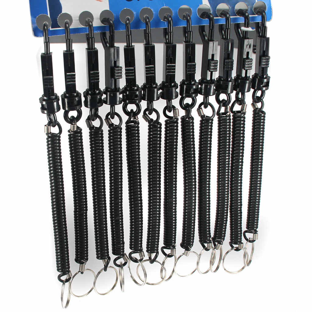 Black Metal Spiral Key Chain Retractable Clip Ring Coil Keyring Spring R1K4 M4W4