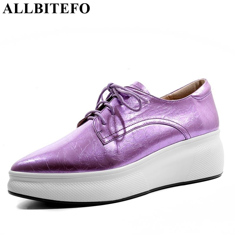 ALLBITEFO brand genuine leather solid women flats sneakers shoes pleated pointed toe platform shoes fashion spring