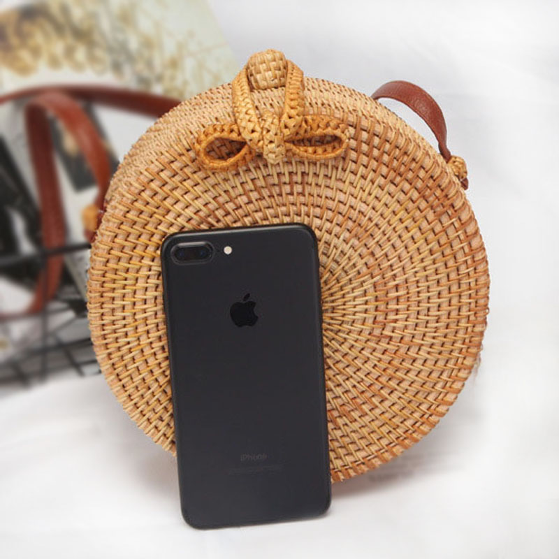 2018 New Case Mobile Phone Bag for Women Round Straw Bag Handmade Woven Beach Crossbody Phone Bag Case for Universial Phones
