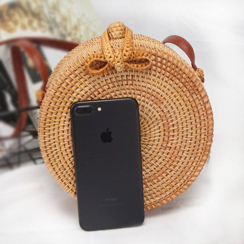 2018 nouveau sac de téléphone portable pour femmes sac de paille ronde à la main tissé plage sac à bandoulière pour téléphones universels