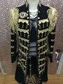 Mens preto beading dourado bordado longo lantejoulas jazz jaqueta / dança / performance de palco