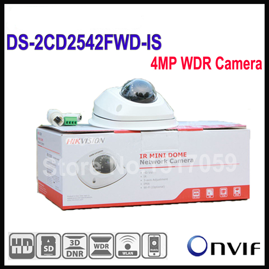In Stock English Version Hikvision Dome IP Camera POE DS-2CD2542FWD-IS Audio 4MP WDR Mini Dome Network Camera original oem english version ds 2cd2120f is mini dome camera full hd 2mp 2 8mm support poe