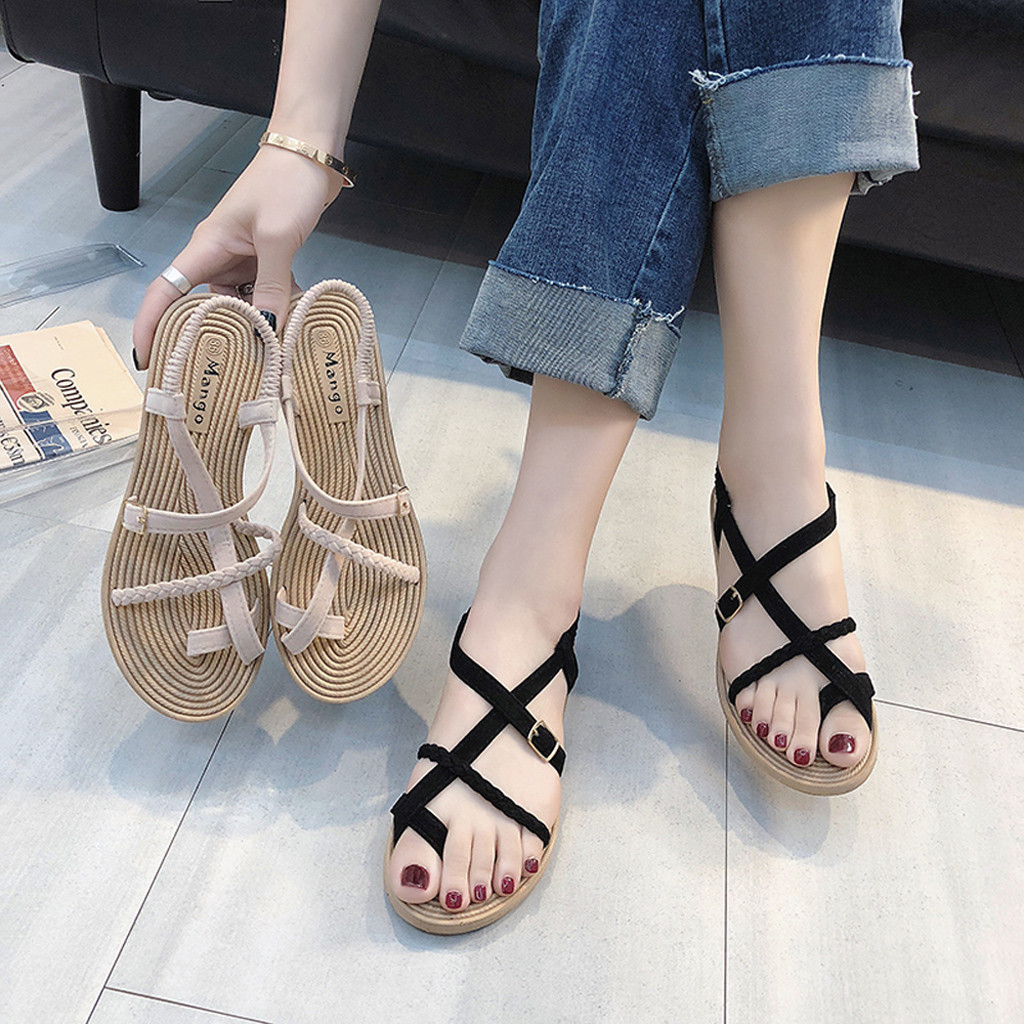 Roman Sandals Clip-Toe Cross-Straps Beach-Shoes Flat-Bottom Femmes Wild No Chaussures