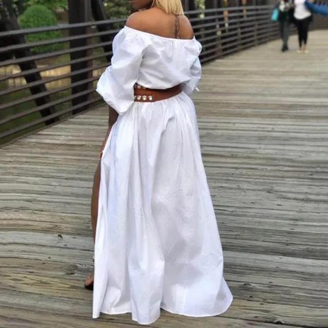 Summer Sexy Club Office Lady Plus Size Elegant Party Women Long Dresses Lantern Sleeve Pleated Split Casual Female African Dress