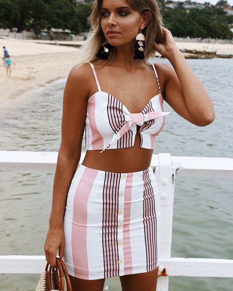 fd5e7352b Beach Style Two piece Set Summer Tops Brand Sleeveless Sexy Bow Crop Top  Striped 2 Piece Set Women Mini Skirt Female Casual Suit
