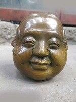 DS China brass copper Buddhism four face Buddha head sculpture Sculpture Statue