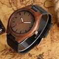 Simples Casual Relógio Artesanal De Bambu Natural De Madeira relógio de Pulso Genuine Leatehr Strap Banda De Quartzo-relógio Das Mulheres Dos Homens Presente