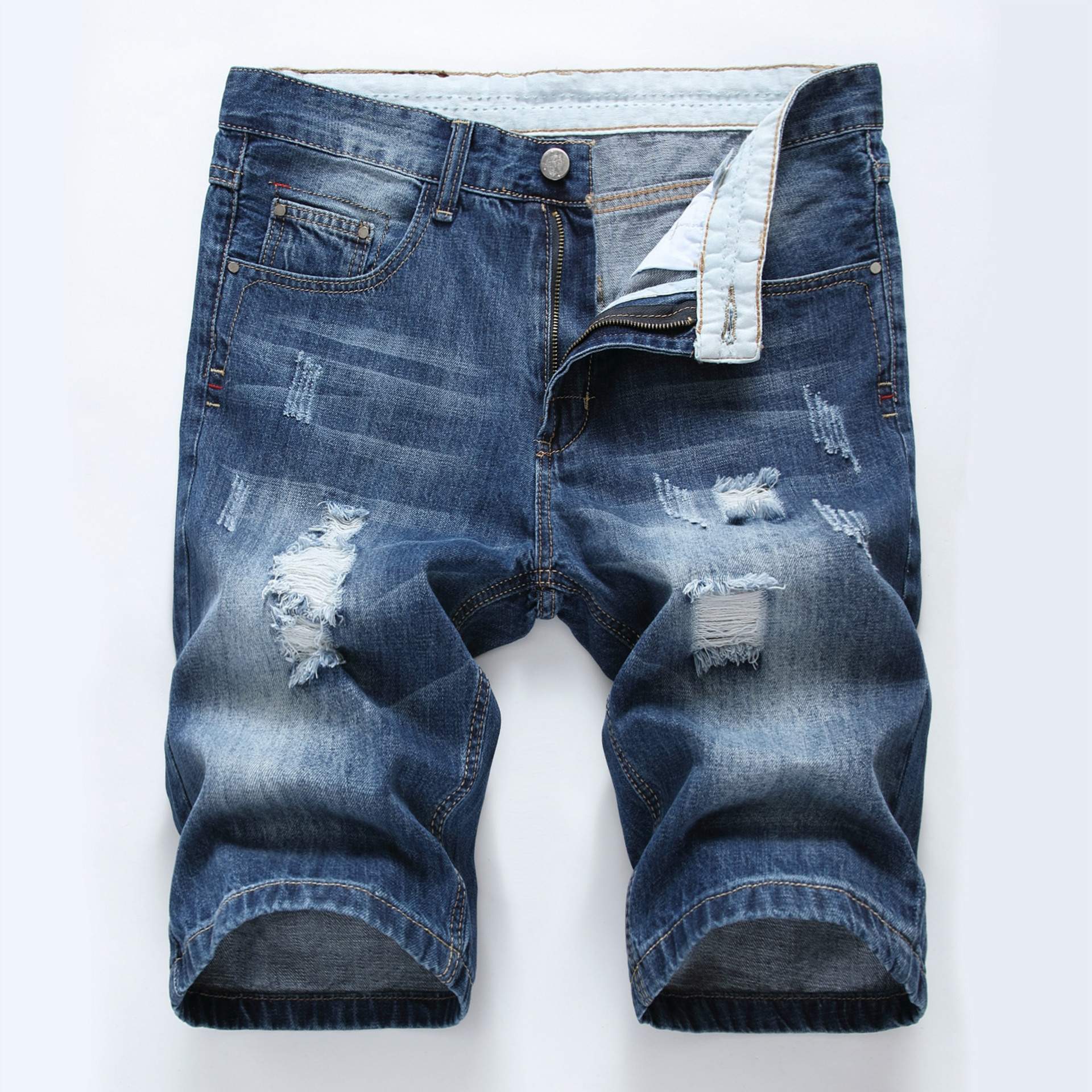 Mens Denim Shorts Men Jeans Mens Jean Shorts 2018 Summer Hole Hip Hop Bermuda Skate Board Harem Male Jogger Ankle Ripped Wave 42