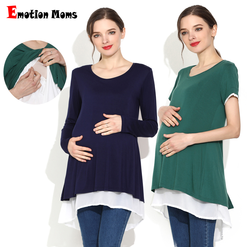 Emotion Moms Women's Clothing Long Maternity Tops For Pregnancy Breastfeeding Milky Nursing Shirts Plus Size Wear(Hong Kong,China)